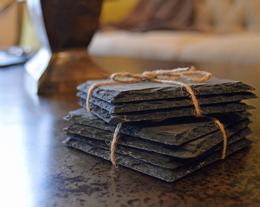 Slate Coasters - Looking for a no-frills way to protect your tabletop? Look no further. We'll save you a set (or three).