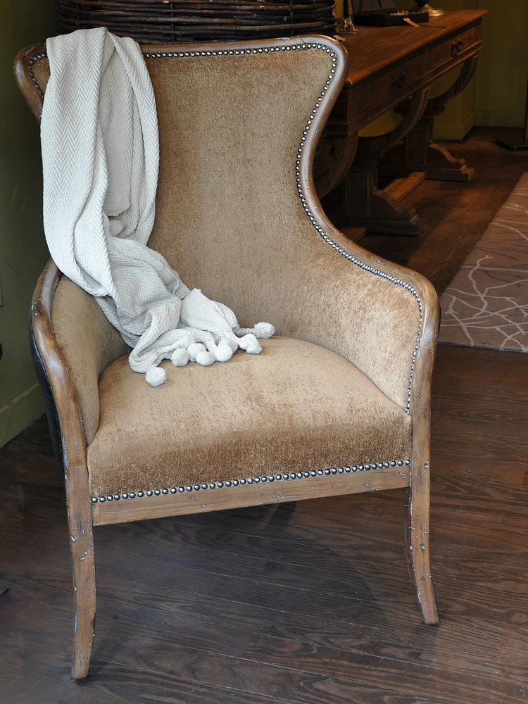 Sinclair Chair  $1,180ea/Pair $1,000ea Nutmeg (As Shown)   Heradotus Cotton Throw  $45 Various Colors Available