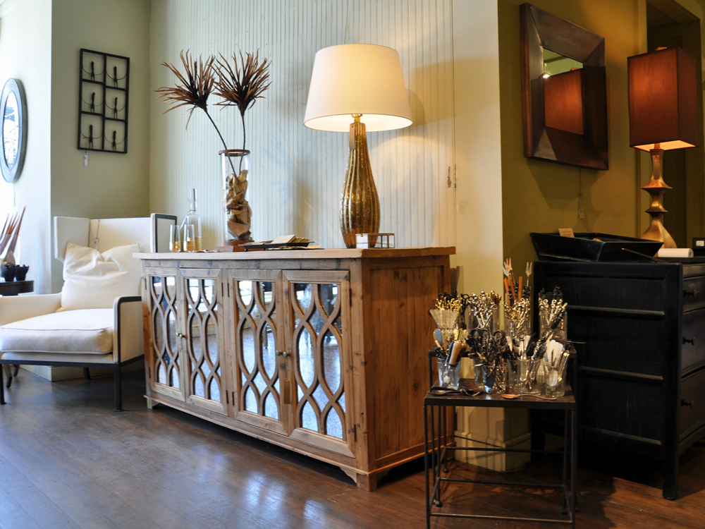 Amalfi Console  Original $1,690/ Now $1,480  Antiqued Mirrored Doors and Interior Wood Shelving.   Menara Decanter  $52  Hi Ball Glass  $18   Aquaduct Vase  $125   Reflection Cards  $1ea   Medio Wing Chair  $2,100/Pair $4000 Steel Frame with Down Filled Cushions and Pillow  Custom Ordered - 6 Weeks