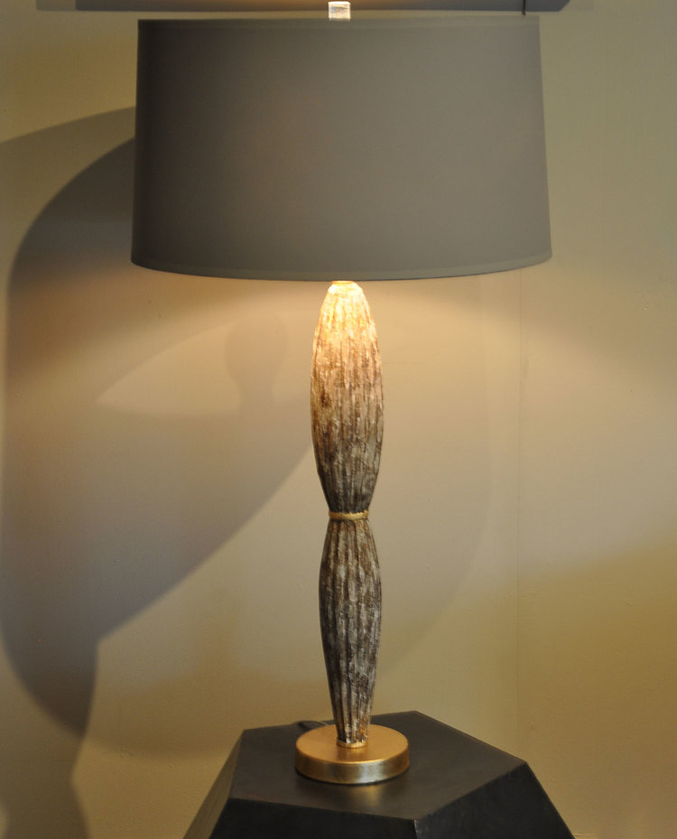 "Brasov Flutted Lamp  $415 Hand Carved Wood with Gold Leaf Finish. 3 Way switch 33""H x 17""Dia"