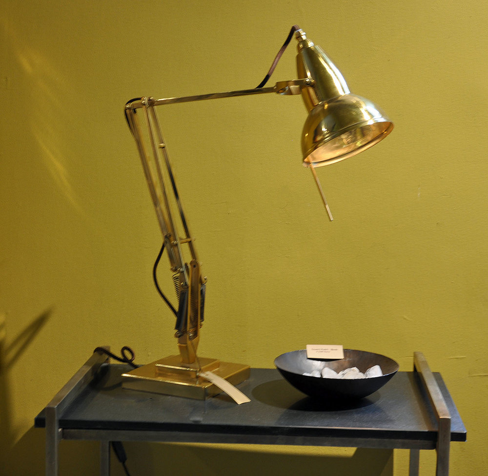 Cambridge Desk Lamp  $395 Solid Brass with Matte Lustre Articulating Arm