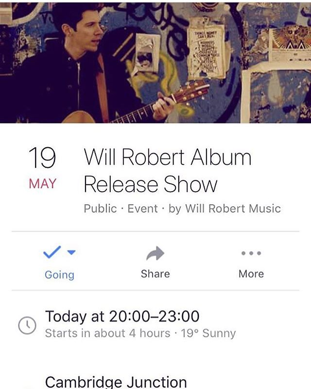Cambridge alert 💥@willrobertmusic is releasing his new album tonight at @cambridgejunction (no.2) and I'll be kicking things off. The tickets for his evening can be found on Cambridge Junction website or even easier 👀 tap on the link in my instagram profile. See you guys there 🙌🏼