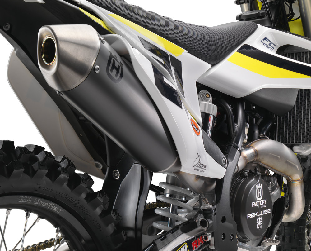 No FMF or Akrapovic here. Husqvarna wanted to stick with their own branded production muffler with the new machine.