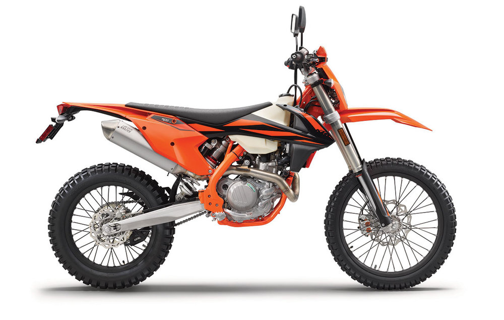 2019 KTM 500 EXC-F - The most powerful off-road competition bike on the market, the KTM 500 EXC-F combines raw 4-stroke punch with outstanding rideability, thanks to its high tech, large-displacement engine sitting in a chassis optimized for low weight and outstanding agility. With an incredible power-to-weight ratio, this awesome 510 cm³ SOHC single provides nothing less than the most dynamic enduro experience available, not the least due to its sophisticated mass centralization and geometry, made possible in part by a highly compact engine layout. The extended levels of rideability afforded by the expert-grade chassis are a necessity in order to successfully tame this kind of performance, for a true racing advantage.