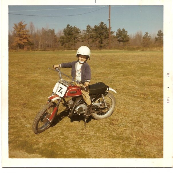 Randy and his 1971 Yamaha JT1 Mini Enduro he got for his fourth birthday.