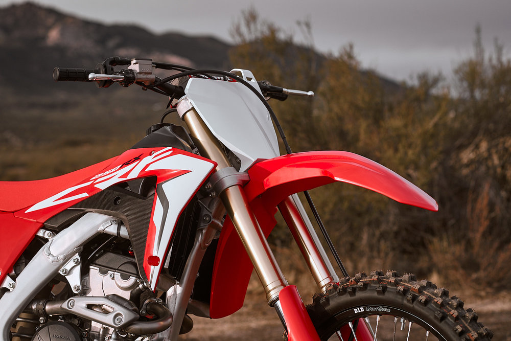 48mm Showa spring forks grace the new 2019 CRF250RX.