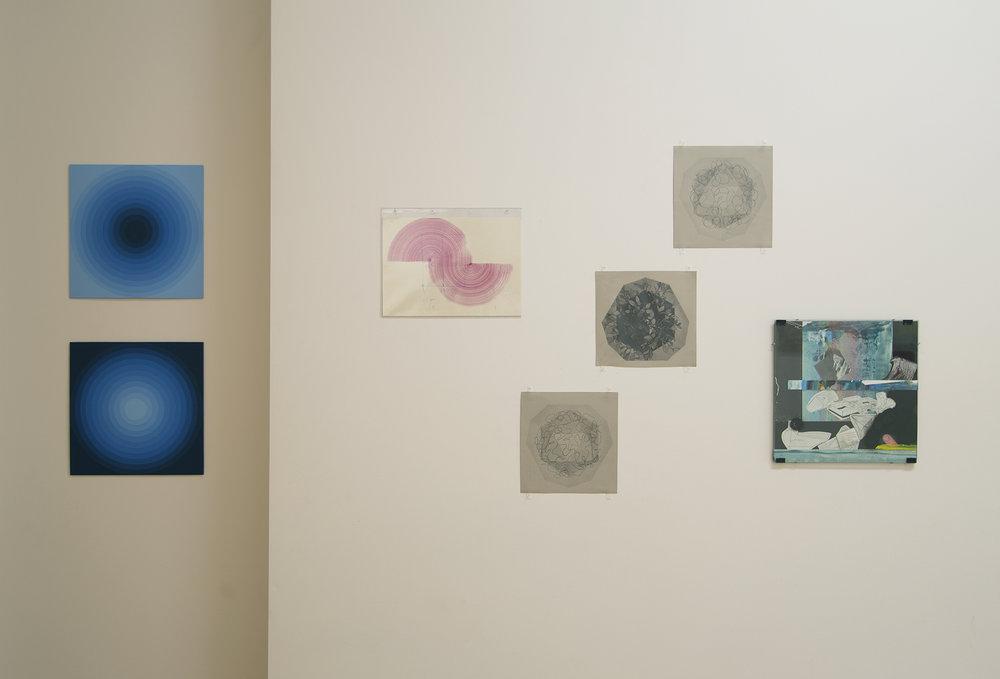 Bridget Caramagna (2 blue pieces) / Carlos Silva / Zoe Pettijohn Schade (3 drawings) / Colby Cannon Welsh