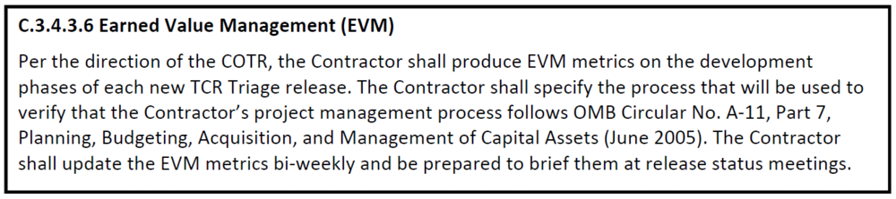 EVM contract clause from a civilian agency RFP