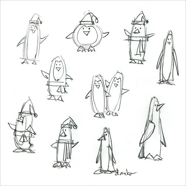 Concept sketches for an American Greetings Penguins gift wrap design.