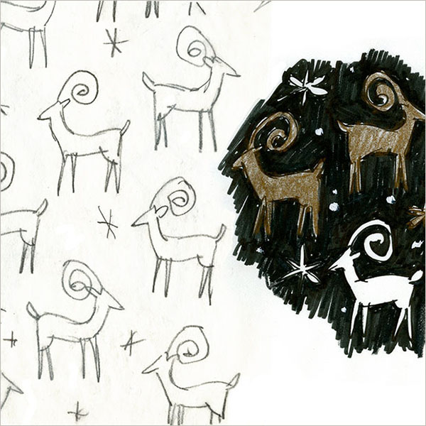 Concept sketches for an American Greetings Reindeer gift wrap design.