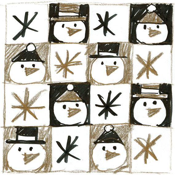 Concept sketches for an American Greetings Snowman gift wrap design.