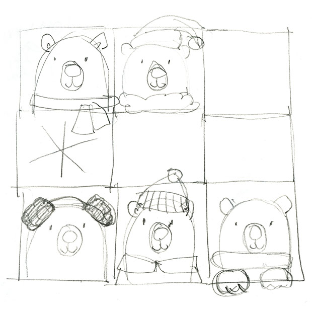 Concept sketches for an American Greetings Polar Bear gift wrap design.
