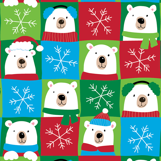 Finished   Polar Bear gift wrap design sold at Walmart. ©American Greetings.