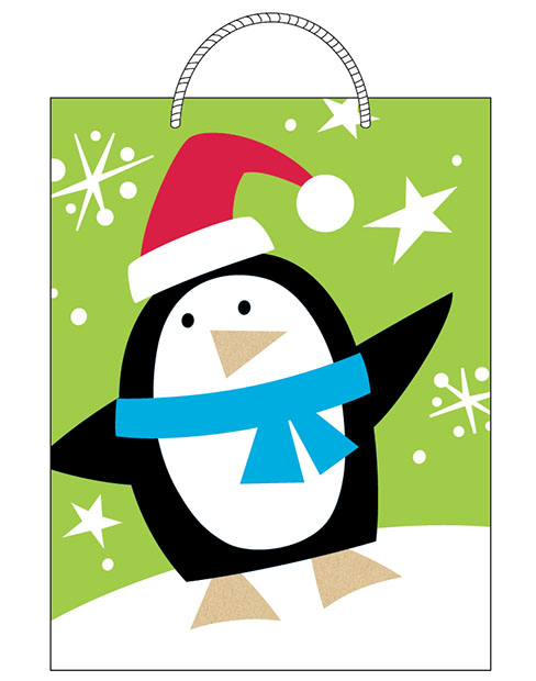Finished   Penguin gift bag design sold at Walmart. ©American Greetings.