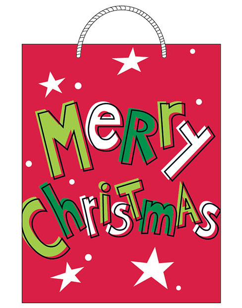Finished   Merry Christmas gift bag design sold at Walmart. ©American Greetings.