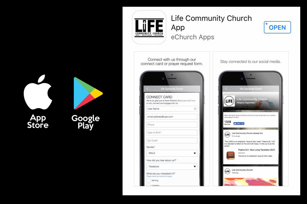 LIFE CC APP - Download the Life CC App on your via the Apple Store or Google Play Store.