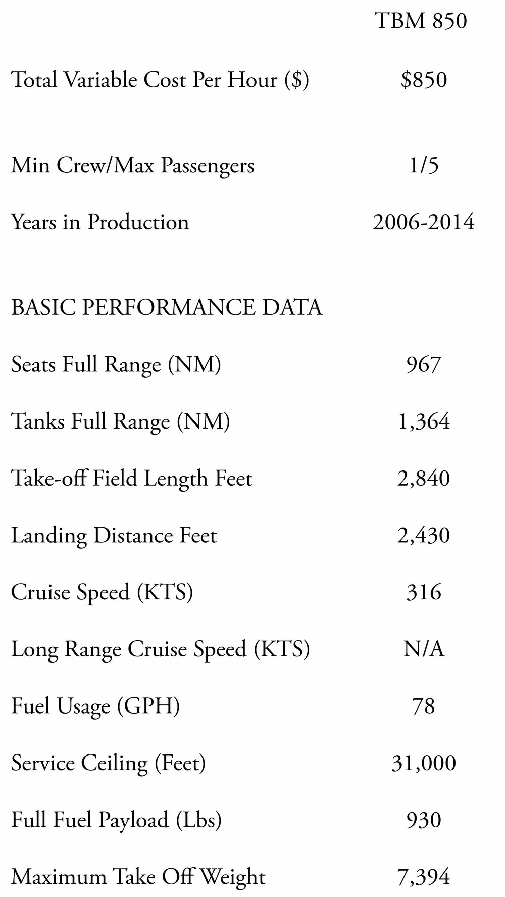 The TBM 850 spec sheet comparing performance data and cost data to the TBM 700 and TBM 900.