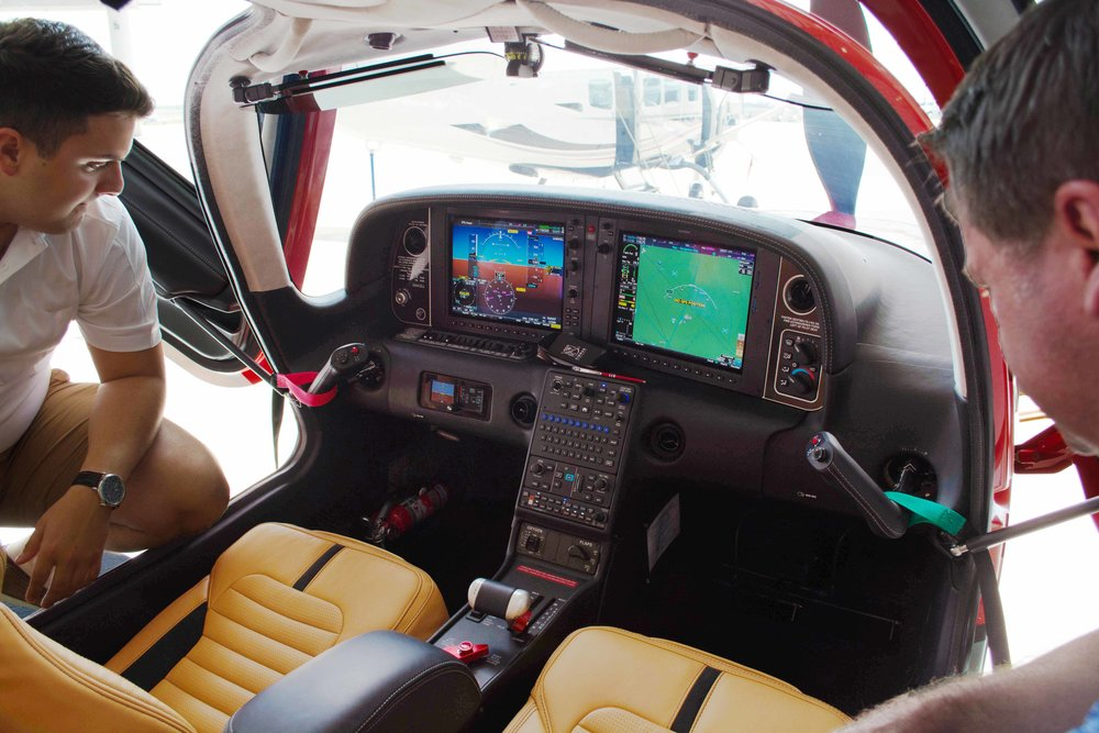 Plush leather Interior and vibrant avionics suite.