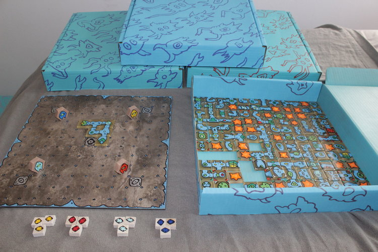 Bridges of Ogoro is a game for 2-4 players. One game set contains over 140 bespoke pieces. (See game playthrough/rules video at bottom of page)
