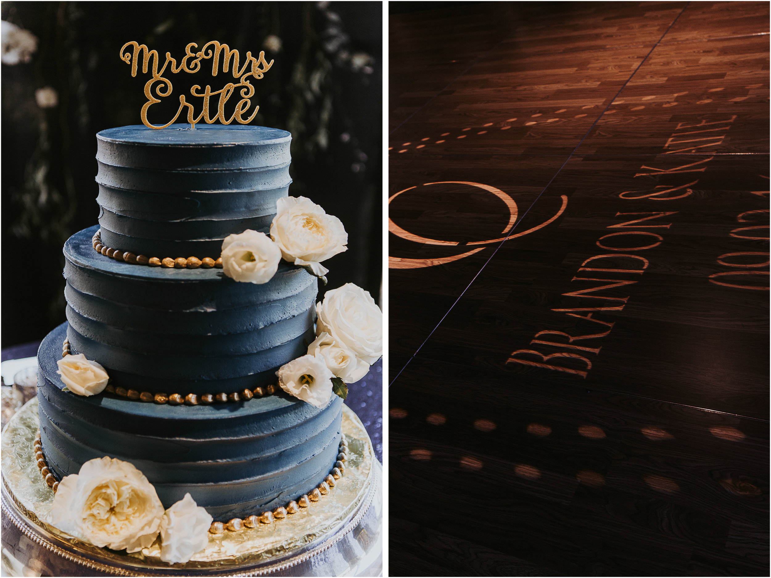 The cake was navy with gold to go with the rest of the wedding design.