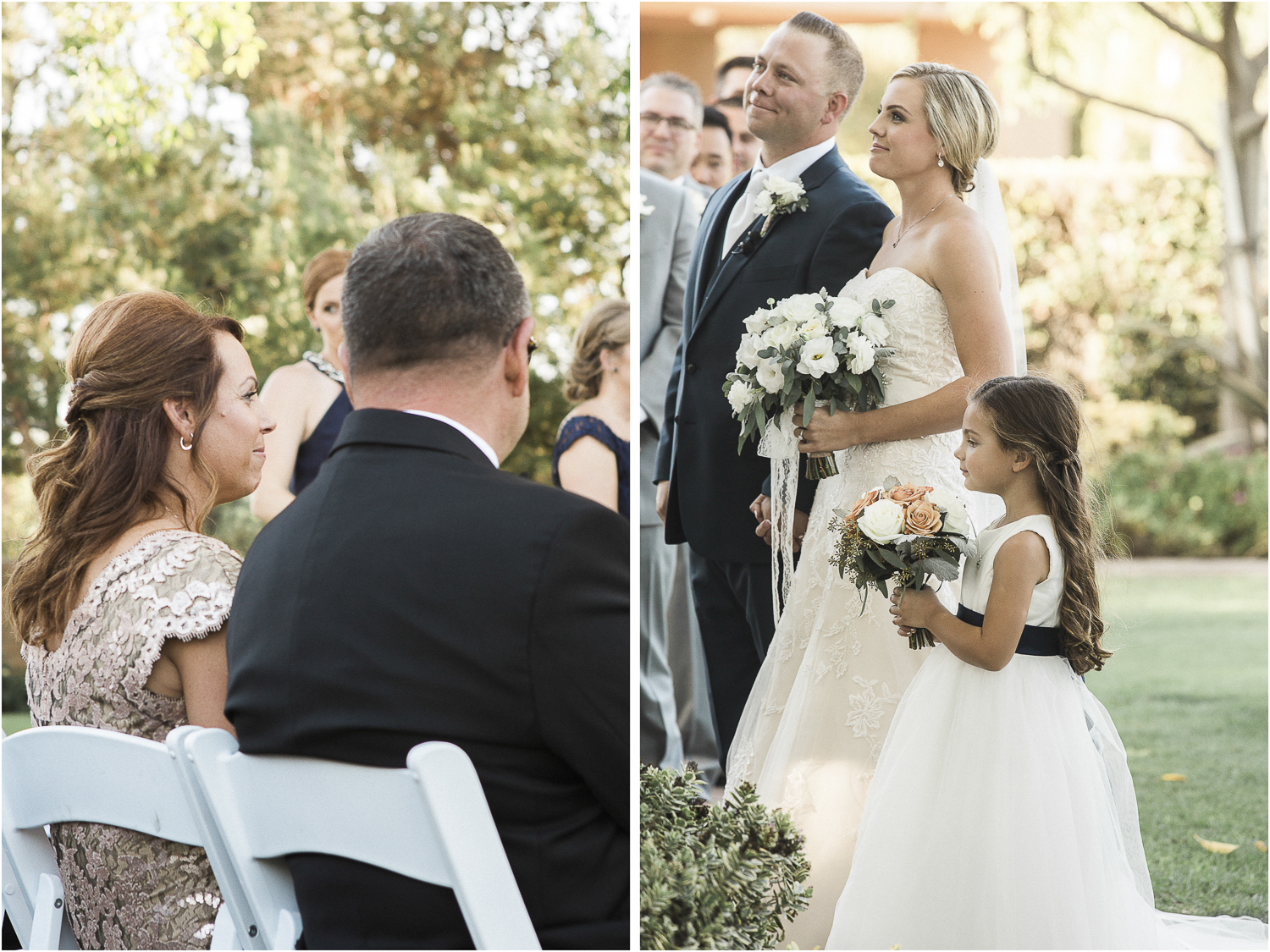 The flower girl was also their daughter and stayed close to Mama's side throughout the ceremony.