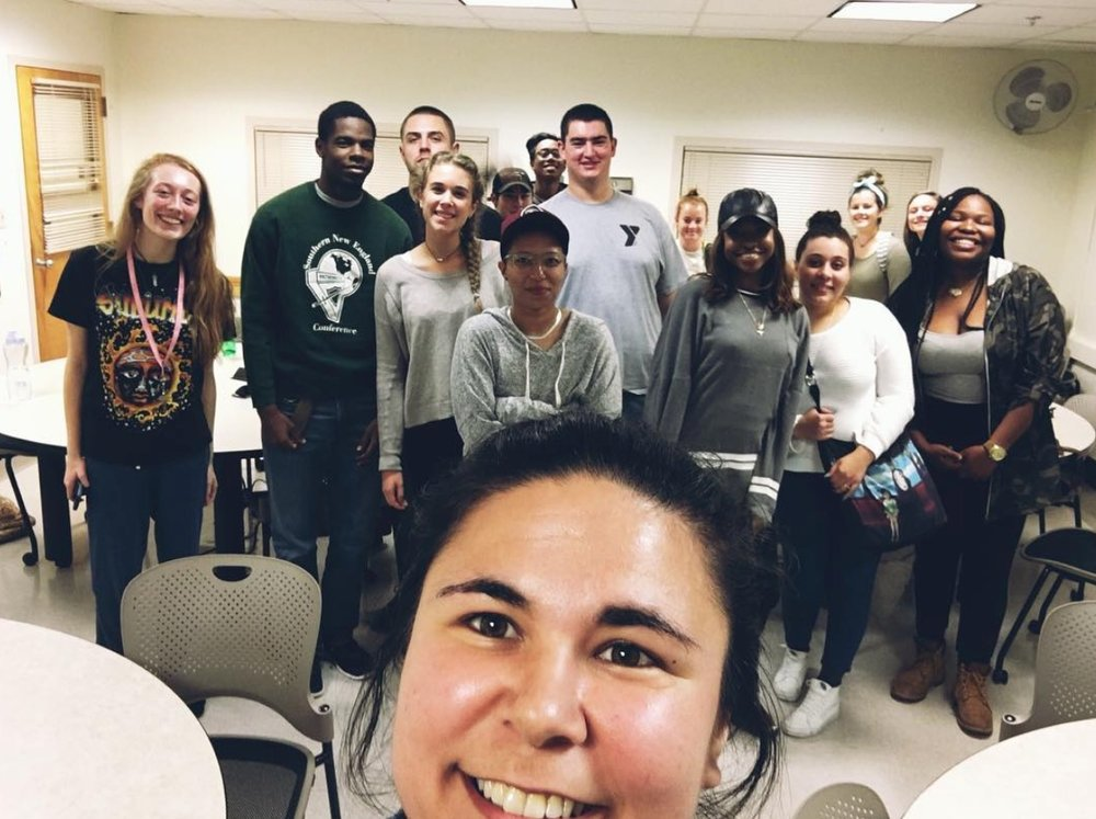Nasir leads a class Oct. 19th, 2017 with Instructor London's Social Diversity in Education class at UMass Amherst.