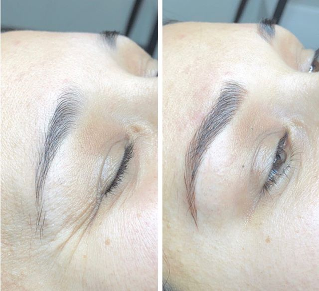 New brows...who dis?! This client came in wanting a more defined shape with a beautiful arch and that is what she got!! Love!! 🖤🖤