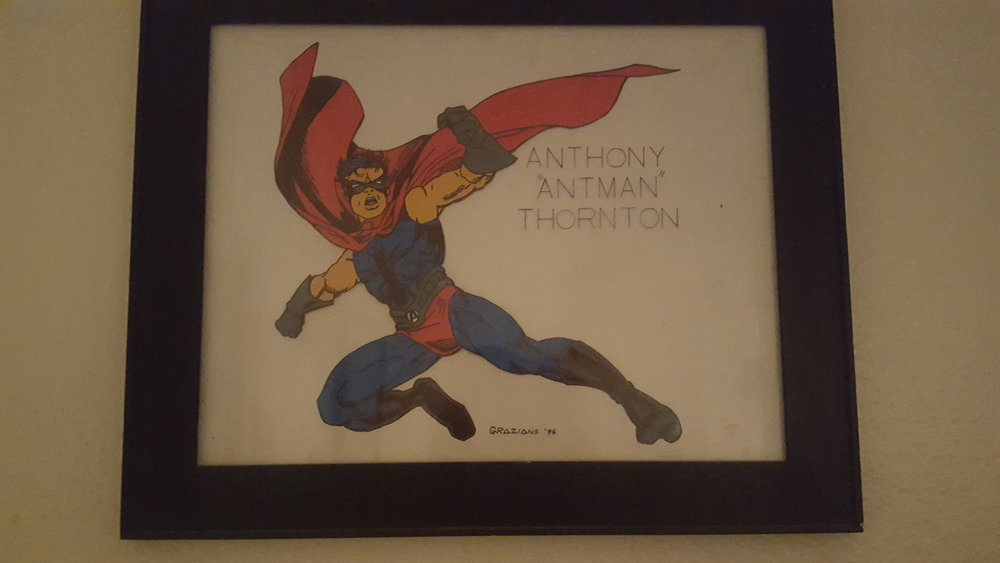- This is the drawing that my uncle did of me as a super hero! This may or may not be hanging next to my bed.