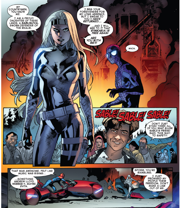 - I couldn't find the Silver Sable and Solo issue Paul was talking about, but here is Silver Sable... because reasons. This is from The Amazing Spider-Man #27 The Osborn Identity pt 3 by Dan Slott and drawn by Stuart Immonen! It's Silver Sable being bad ass and Spidey being all of us. Check it out!