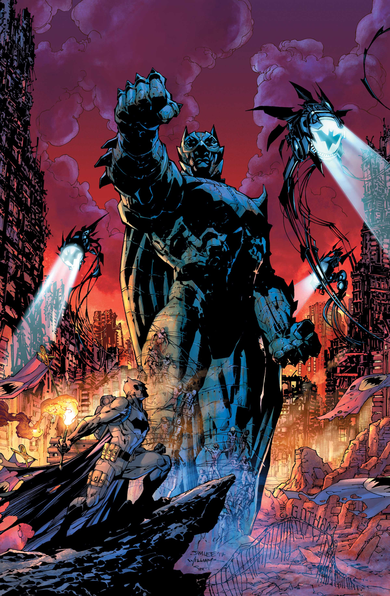 - An apocalyptic view of what I assume is Gotham. Flying drones (reminded me of the Squidies from The Matrix) overhead spotlighting the city with small Bat-signals.tattered Bat-banners hang from knocked over light poles and Batman stands on a rock, holding a flare, and staring at the giant Bat-statue. the Bat is a tyrant?!