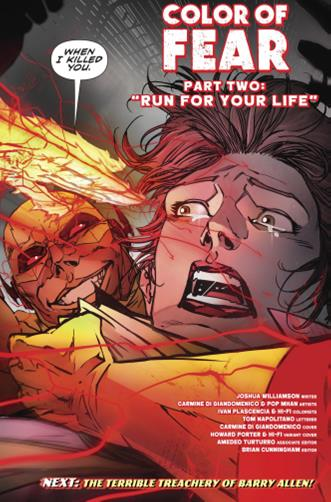 - Thawne takes Iris back to his timeline and feels the need to remind her who he is. He takes a rando from the street and vibrates his hand straight through him. If that wasn't enough, the issue ends with Thawne holding Iris, about to vibrate his hand through her face. WHAT THE SHIT?! Thawne scares the shit out of me and I can't wait to see more!