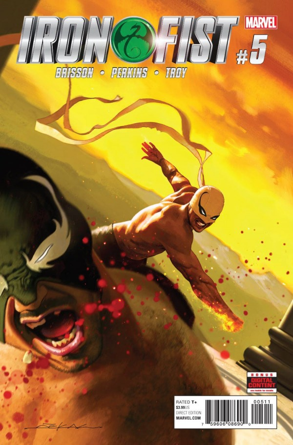 AT's Pick - Iron Fist #5 by Ed Brisson (Art by Mike Perkins). THE EPIC CONCLUSION OF THE TRIAL OF THE SEVEN MASTERS! Danny has reached the end of the gauntlet, but is this also the end of the Iron Fist? It's Danny versus Liu-Shi's most deadly master…THE WOLF!