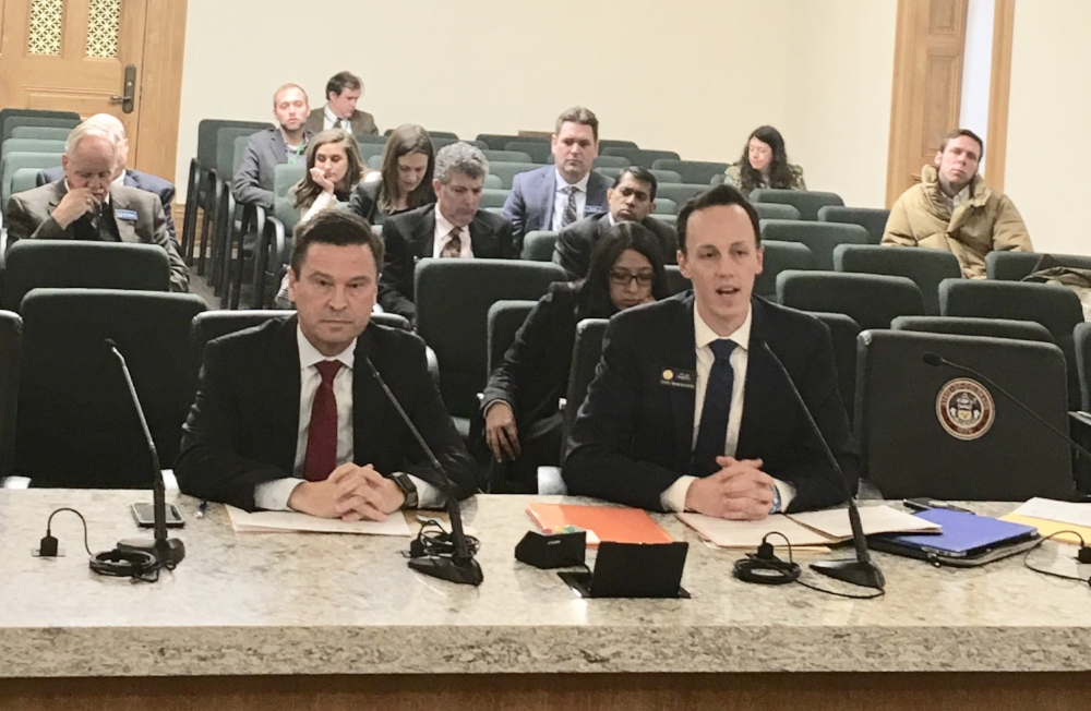 Rep. Dylan Roberts (D-Eagle) presents HB 18-1102 with co-sponsor, Rep. Cole Wist (R-Centennial) to the House Judiciary Committee. The bill to extend a rural prosecutor fellowship program passed the panel on a 9-1 vote.