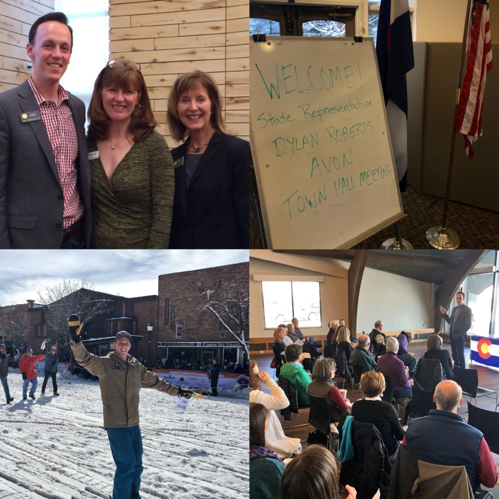 Town hall with State Rep. Millie Hamner in Basalt, Avon Town Hall, Ski Jouring in the Steamboat Winter Carnival Parade, Steamboat Town Hall.