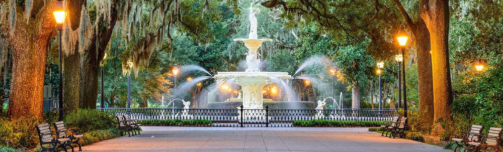 Forsyth Fountain and Park in Savannah's Historic Downtown. Photo by Kimpton Hotels,  The Brice.