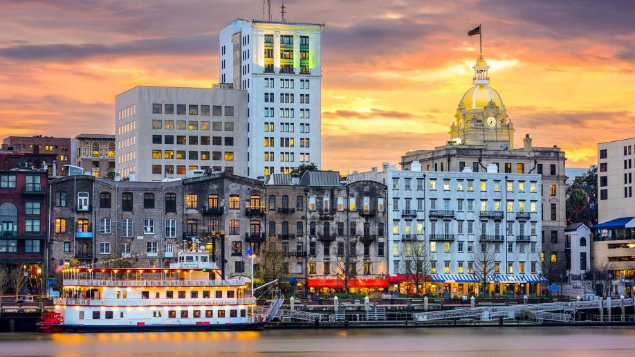 The Savannah River skyline at sunset. Photo by Brian Martucci.