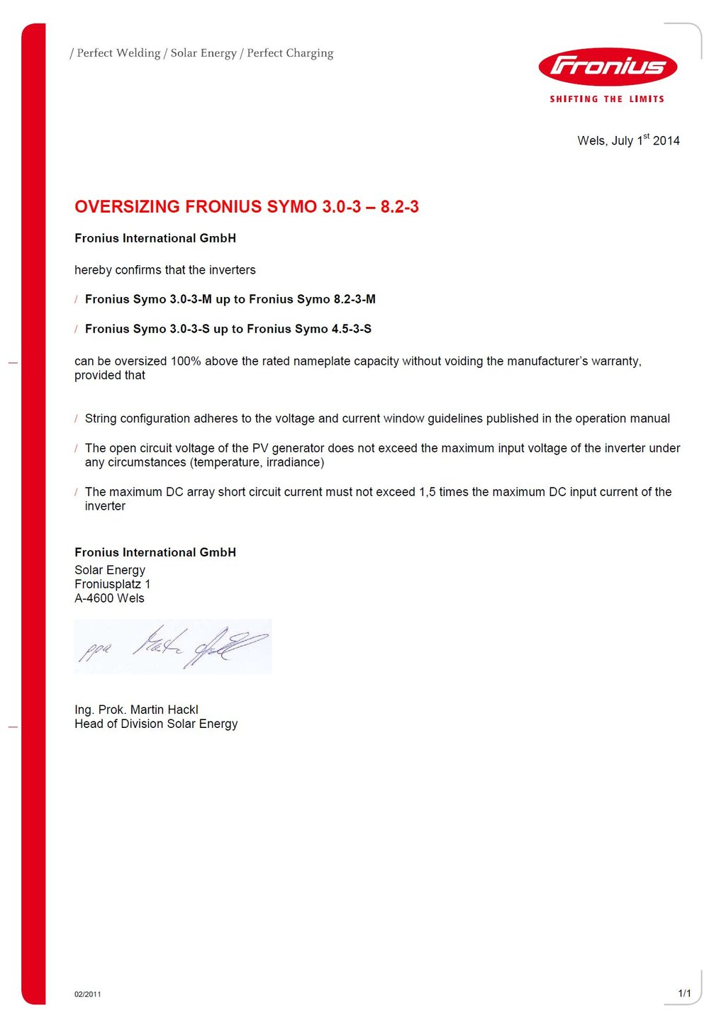 Fronius Symo Oversizing  - Document from Fronius stating they permit  100%   more  (200% total) DC capacity per AC output.