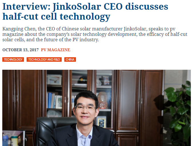 Click on image to read about Jinko's, the world's largest panel manufacturer, plans with half cut cells.