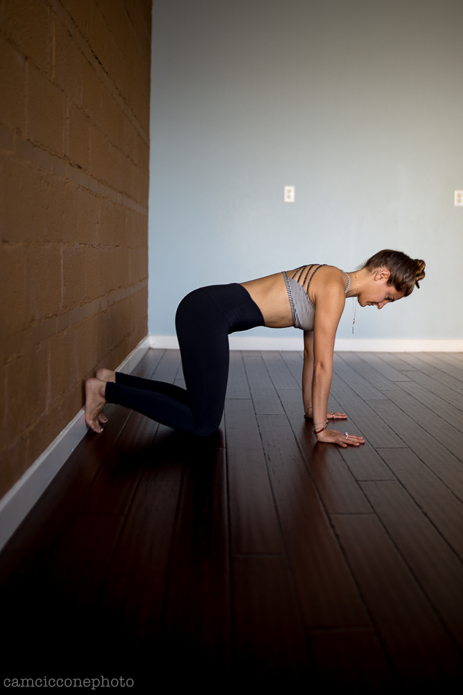 Stage One - Come to a table shape on hands and knees with the feet bridging the wall and the floor. Place the ball of the foot on the ground and the heel on the wall, so the foot is wedged in. With the knees under the hips and the hands under the shoulders while the torso is lengthened out the body will likely be in an orientation for the next poses to be an appropriate distance from the wall. Pull the front ribs in like they're laces on a shoe to connect to your center. Push the floor away to activate the arms.