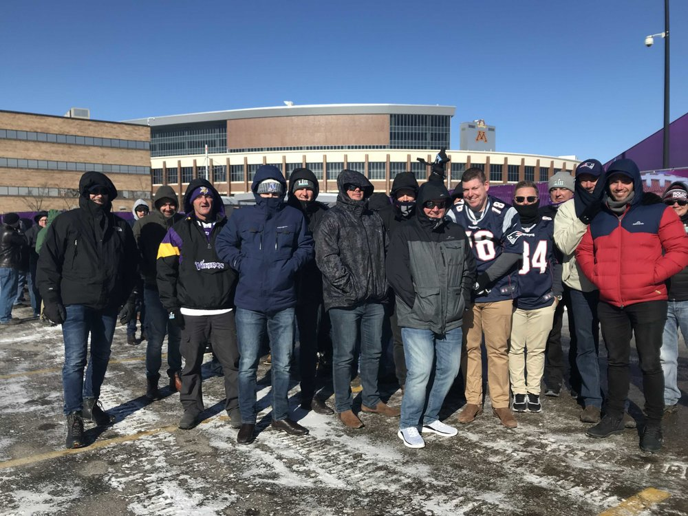 Some of our Aussie guests braving the cold in Minneapolis for Super Bowl LII