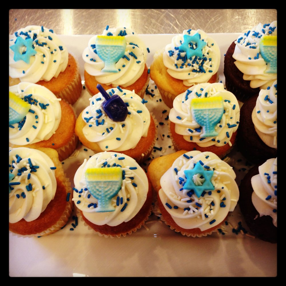 Hanukkah Cupcakes (specific toppers may vary) Regular Size $3 each/$33 per dozen Minis $18 per dozen