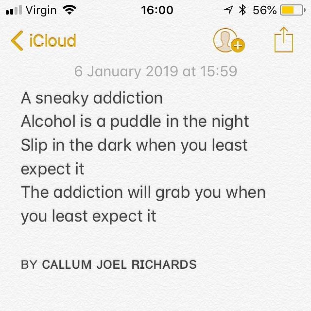 ᴘᴏᴇᴍ ʙʏ @callumjoelrichards  A sneaky addiction Alcohol is a puddle in the night Slip in the dark when you least expect it The addiction will grab you when you least expect it  ʙʏ ᴄᴀʟʟᴜᴍ ᴊᴏᴇʟ ʀɪᴄʜᴀʀᴅs  ᴍʏ ʜᴀsʜᴛᴀɢs #poemsbycal #calthepoet #callumjoelrichards . . . . . . . . . . . . . . .  ʜᴀsʜᴛᴀɢs #poet #poetry #poem #poetic #instapoetry #instapoet #instapoets #instapoem #instapoems #birminghampoetry #birminghampoet #birminghampoets #writer #writers #writerscommunity #poetrycommunity #poetryporn #poetsofinstagram #poetsoninstagram #poetsofig #poetsonig