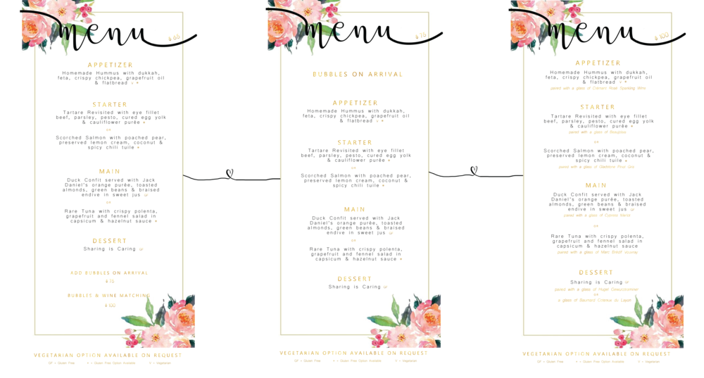 Valentine's Day Set Menu Option