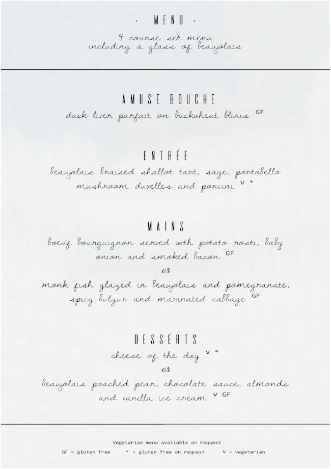Beaujolais Menu