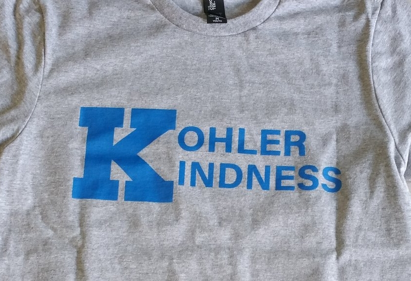 Soft District Tee's celebrating Kohler Elementary in Wisconsin for achieving over 15,000 acts of kindness.