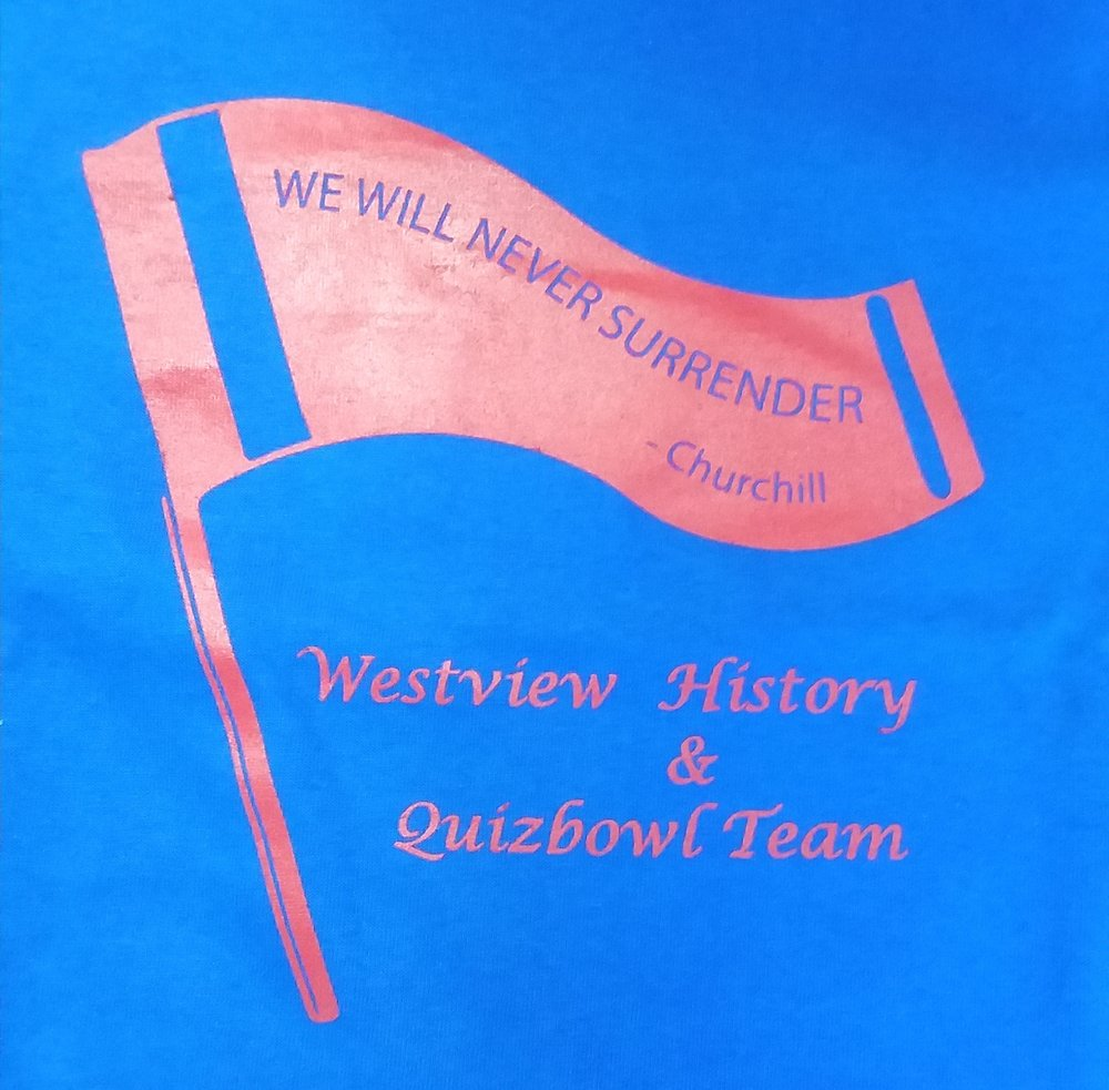Westview History and Quizbowl Team Tee's for their trip to D.C.