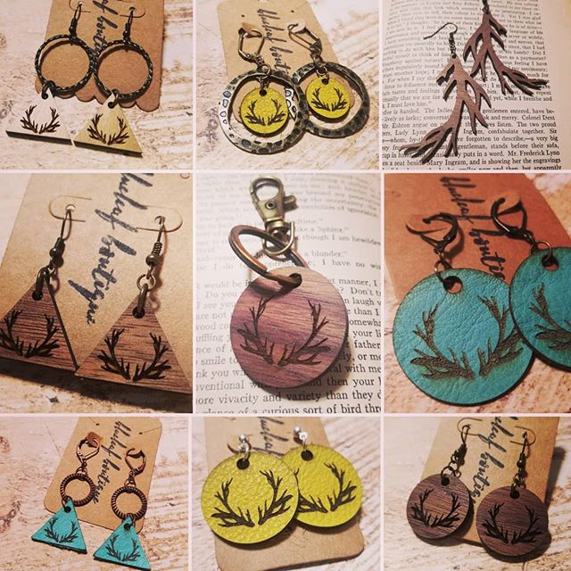 Antlers for days!  #handmadejewelry #woodandleatherjewelry #whatmadethis #glowforge #