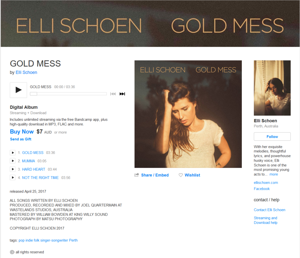 Support Elli and purchase the Gold Mess EP from Bandcamp