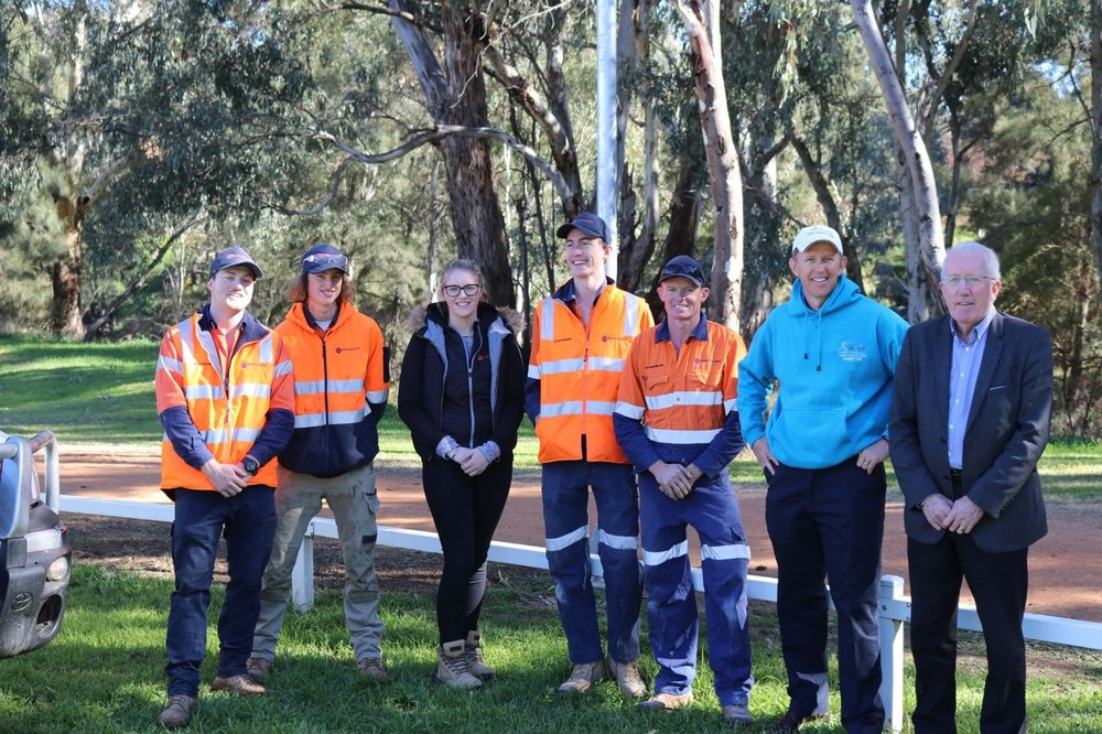 Pictured from right: Dubbo Regional Council Administrator, Michael Kneipp, Dubbo Stampede President, Rod Campbell, Specialized Electrical Director, Len Darlington and staff members at today's event.