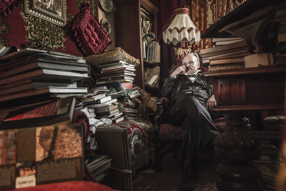 Moscow Russian Federation , June 2017. Valery Boris is a former art professor and active member of the Russian Cosmist movement inside his study. Born in Tur- kmenistan and deep expert of Fedorov's thinking, devotes main part of his time to the resurrection paradise , a garden build outside his house in memory of the Philosopher.